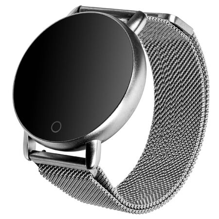 Wireless smart watch in a round matte siver case on a metal strap with a blank screen for a logo on a white background. Three quarter view Stock fotó