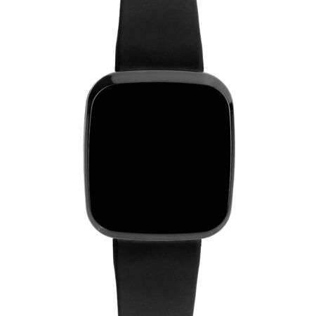Wireless smartwatch in a square glossy black case with a blank screen for a logo or label with a silicone strap. Front view isolated on white background