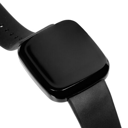 Wireless smartwatch in a square glossy black case with a blank screen for a logo or label with a silicone strap. Three quarter view close up isolated on white background Stock fotó