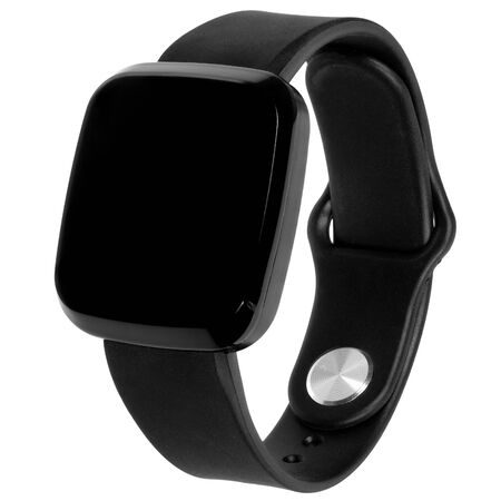 Wireless smartwatch in a square glossy black case with a blank screen for a logo or label with a silicone strap. Three quarter view isolated on white background