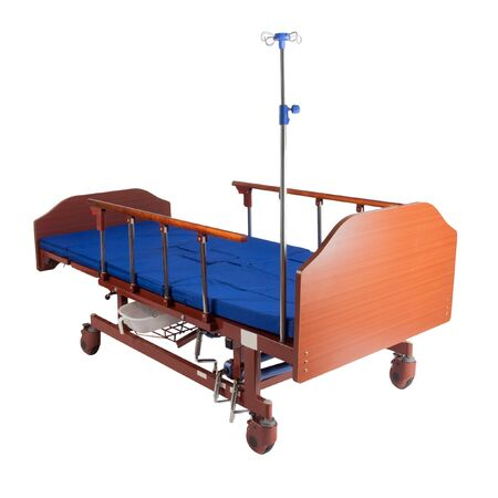 Modern medical bed for the hospital for people with low mobility with mechanical control on a white background