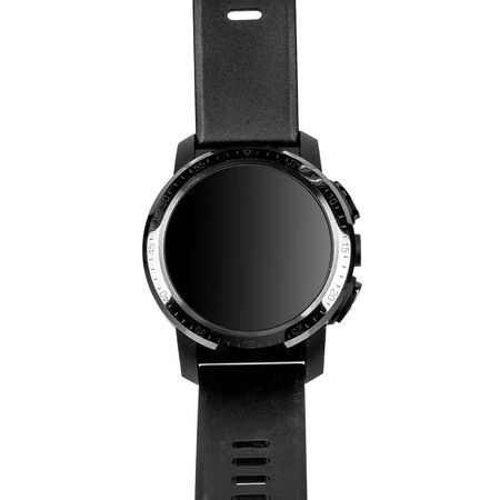 Wireless smart watch in a round glossy black case with numbers on the rim, buttons and a camera and a silicone strap on a white background. Front view