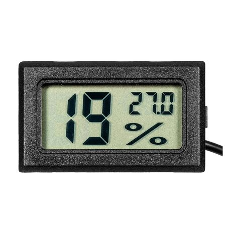 Digital thermo-hygrometer with numbers on the LCD display isolated on white background
