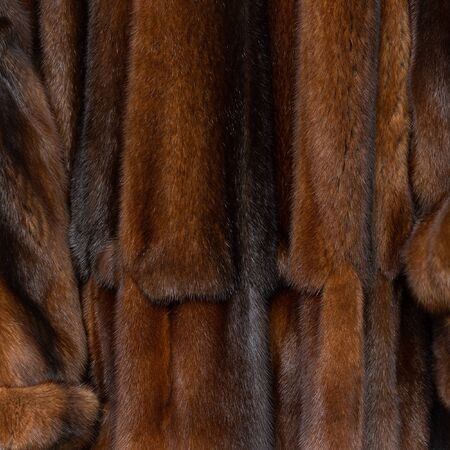 Natural dark brown shiny fur texture with beautiful folds in the form of waves