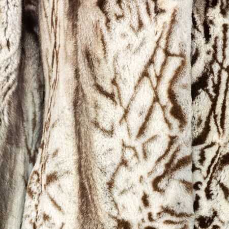 Natural beige brown shiny fur texture with large spots and beautiful folds