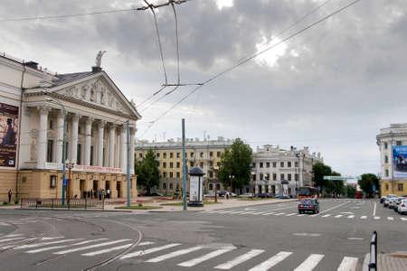 Russia, Nizhny Novgorod - June 20, 2009: Empty square in the center of a European city Sajtókép