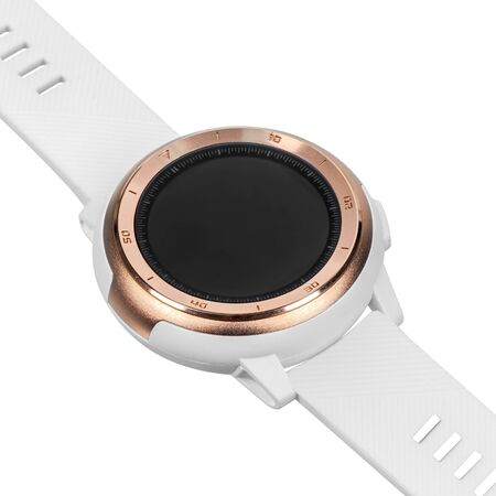 Wireless smart watch in a round matte gold case with numbers on the rim and a silicone strap on a white background. Diagonal view Stock fotó