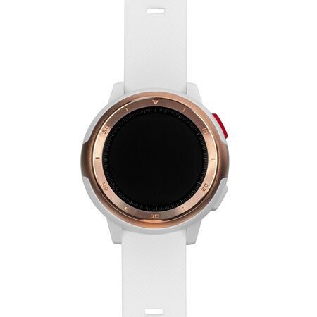 Wireless smart watch in a round matte gold case with numbers on the rim and a silicone strap on a white background. Front view