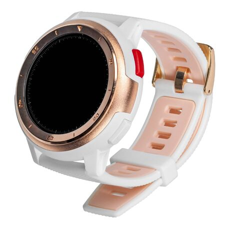 Wireless smart watch in a round matte gold case with numbers on the rim and a silicone strap on a white background. Three quarter view Stock Photo