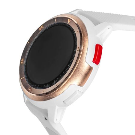 Wireless smart watch in a round matte gold case with numbers on the rim and a silicone strap on a white background. Three quarter view close up