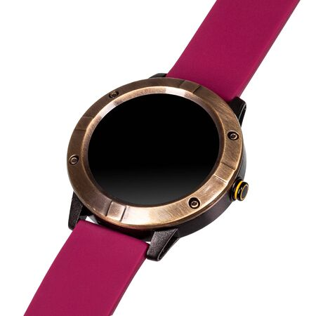 Wireless smart watch in a round matte bronze case and a red silicone strap on a white background. Diagonal view