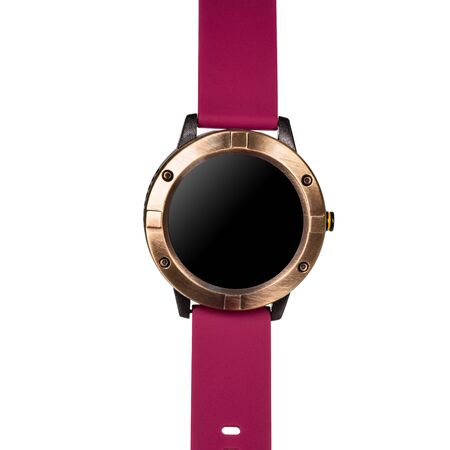 Wireless smart watch in a round matte bronze case and a red silicone strap on a white background. Front view
