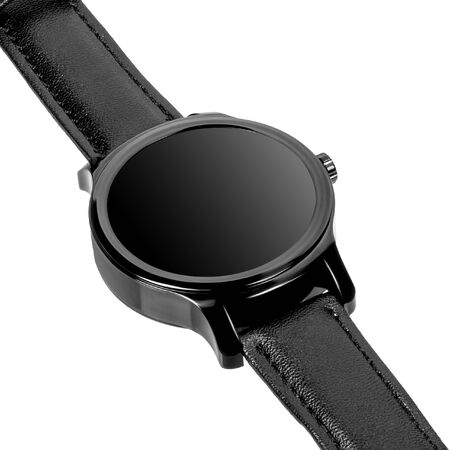 Wireless smart watch in a round shiny black case and black leather strap on a white background. Diagonal view