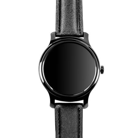 Wireless smart watch in a round shiny black case and black leather strap on a white background. Front view Stock fotó