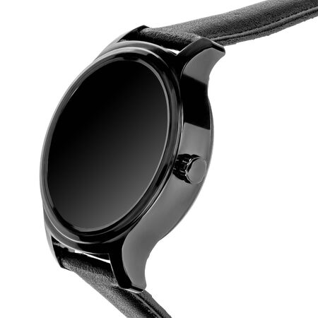 Wireless smart watch in a round shiny black case and black leather strap on a white background. Three quarter view closeup Stock fotó
