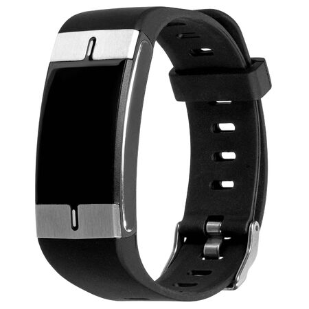 Smart fitness bracelet with heart rate measurement, silicone black strap and blank screen for logo or inscription hanging in the air, isolated on a white background. Three quarter view