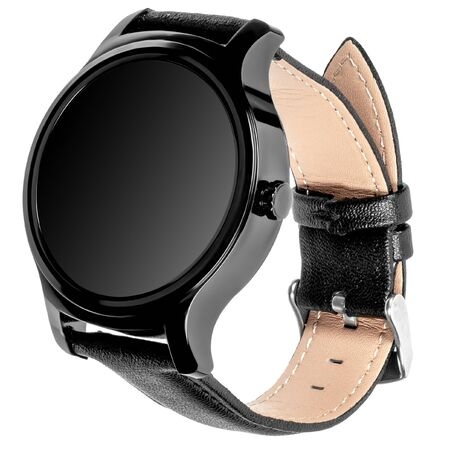 Wireless smart watch in a round shiny black case and black leather strap on a white background. Three quarter view Stock fotó