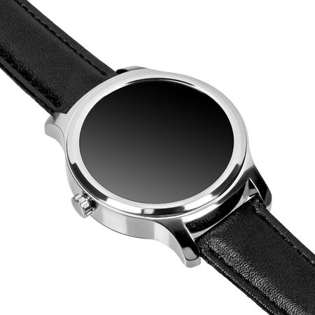 Wireless smart watch in a round shiny silver case and a black leather strap isolated on white background. Diagonal view