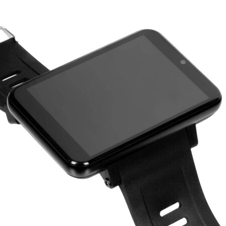 Wireless smart navigator with a large rectangular glossy black case with a blank screen or label with a silicone strap. Three quarter closeup view on a white background