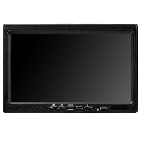 Large wireless digital gadget with blank touchscreen and black control buttons at the bottom on white background