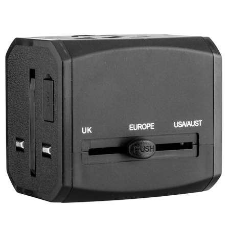 Power adapter portable international black plastic. Isolated on white background