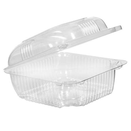 Reusable plastic transparent box for takeaway, picnic or store food isolated on white
