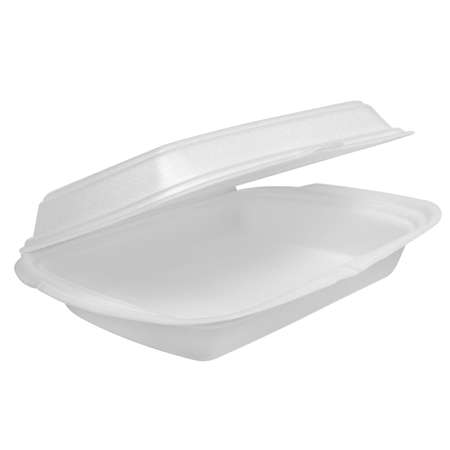 Disposable biodegradable box for takeaway or picnic food isolated on white