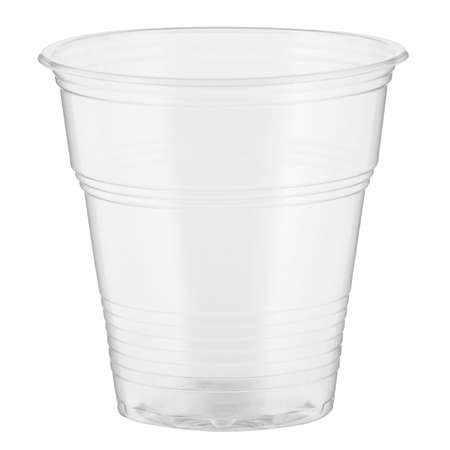 One empty disposable transparent plastic cup isolated on white background