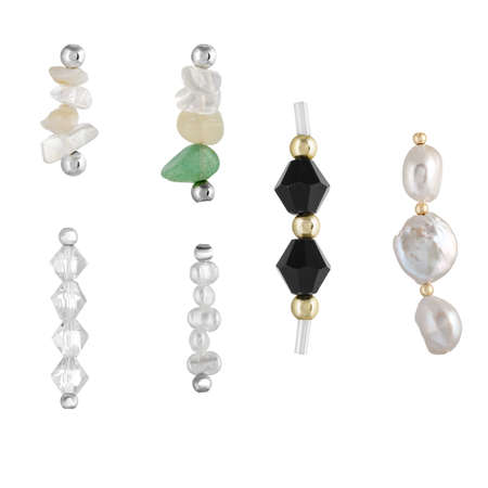 A set of natural gemstones and beads for jewelry and bijouterie. Template for designers and layouts. Isolated on white