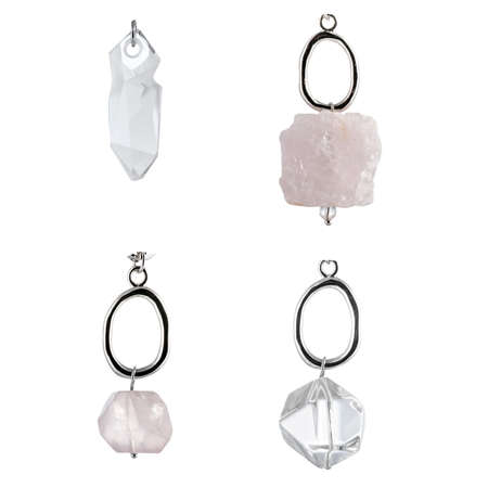 A set of natural precious and semi-precious large stones for pendants, jewelry and bijouterie. Template for designers and layouts. Isolated on white Standard-Bild