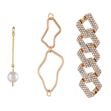 A set of pendants made of gold with stones and pearls, Pattern and parts for jewelry and bijouterie for designers and layouts. Isolated on white Standard-Bild