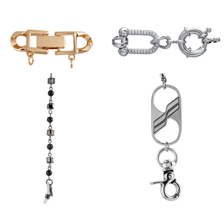 A set of gold and silver locks with stones for jewelry chains and bracelets. For designers and layouts isolated on white
