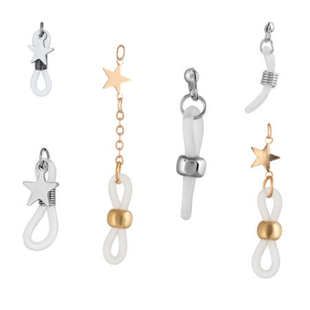 A set of silver and gold locks for jewelry chains and bracelets. For designers and layouts isolated on white