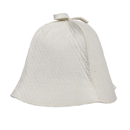 Classic felt hat for head protection in the sauna. Light beige isolated on white