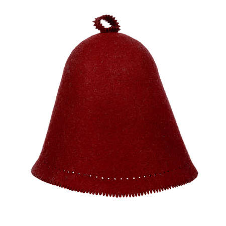 The classic burgundy felt hat for head protection in the sauna. Isolated on white Standard-Bild