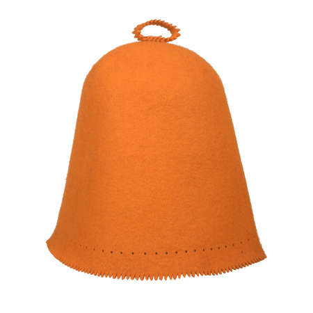 The classic orange felt hat for head protection in the sauna. Isolated on white Standard-Bild
