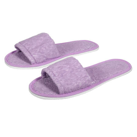 Traditional open toe slippers for home, hotel or spa. Purple colors on a white background.