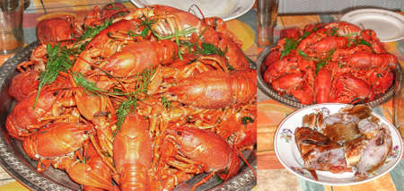 Red boiled crayfish on the table in a large plate for article illustration for cooking and snacks. Collage of two photos
