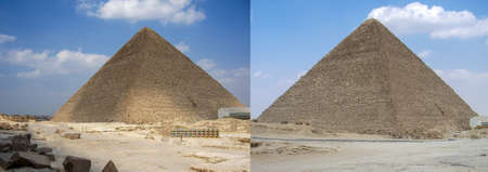 Ancient pyramids in the desert of Egypt. Collage of two photos to advertise travel, vacation or tourist trip