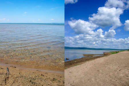 Picturesque lake shore in sunny weather. To attract tourists for outdoor recreation. Collage of two photos