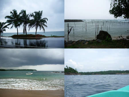 Tropical ocean before the storm, stormy weather. Collage of four photos to advertise travel, vacation or tourist trip