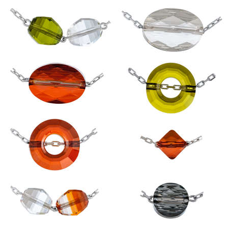 Transparent precious stones pendants close-up for designers and templates. Isolated on white