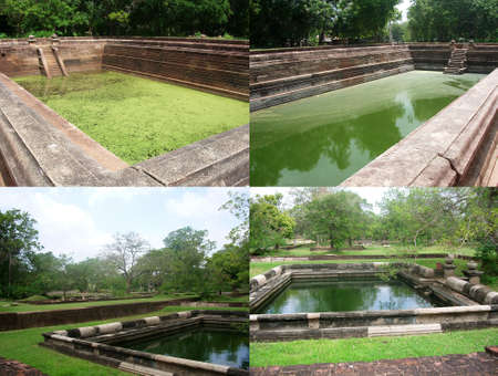Royal green water ponds in Anuradhapura, Sri Lanka. Collage of four photos to advertise travel, vacation or tourist trip