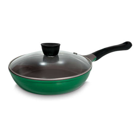 Round green frying pan with transparent lid for cooking, kitchen utensils, utensils. Side view isolated on white Standard-Bild