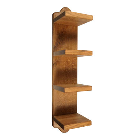 Solid wood shelf for storing clothes or towels at home or in a sauna. Organizer for linen isolated on white