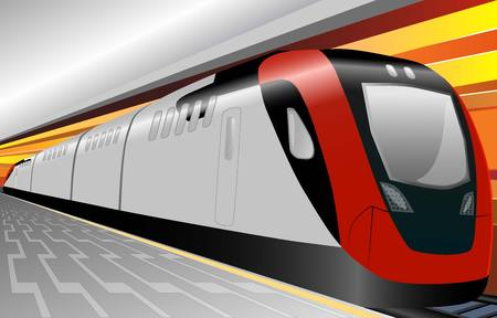 black train: Speed train underground with platform and  background
