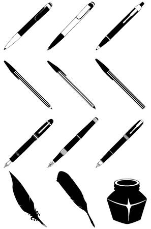 soft tip pen: pen, fountain pen, feather for writing and bank of ink icons in black and white style Illustration