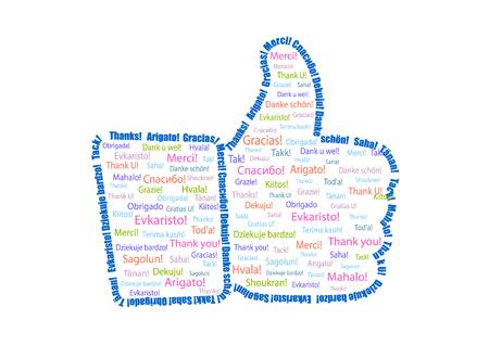 admiration: Hand with a finger up painted words - Thank you in different languages Illustration