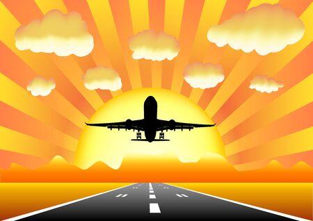 taking off: Aviones despegar en la pista en un fondo de monta�as y puesta de sol