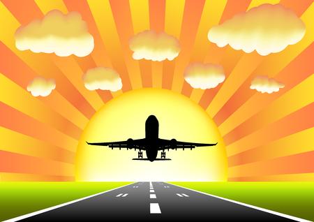 taking off: Aviones despegar en la pista sobre un fondo de la puesta del sol Vectores